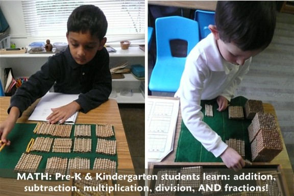 PreK and Kindergarten students learn addition, subtraction, multiplication, division, AND fractions
