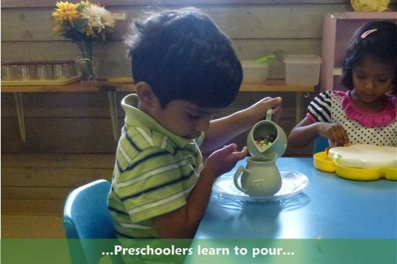 Preschool: Students learn to pour